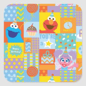 Elmo, Abby, and Cookie Monster Birthday Pattern Square Sticker