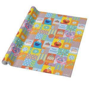Elmo, Abby, and Cookie Monster Birthday Pattern Wrapping Paper