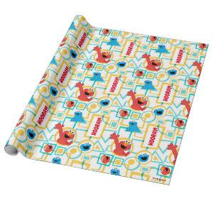 Elmo & Cookie Monster Fun Shapes Pattern Wrapping Paper