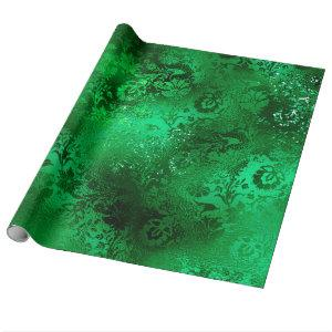 Emerald Green Glam Damask Pattern Wrapping Paper