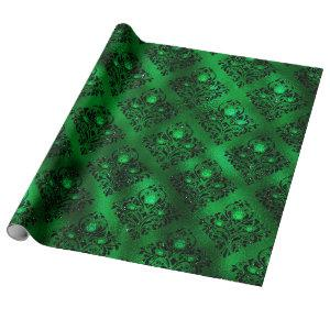 Emerald Green Glam Damask Rose Pattern Wrapping Paper