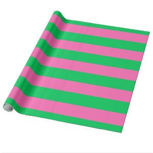 Emerald Green, Hot Pink #2 XL Preppy Stripe 1X Wrapping Paper