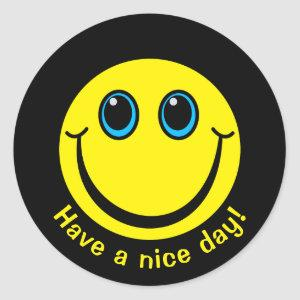 Emoji Face Have a nice day Classic Round Sticker