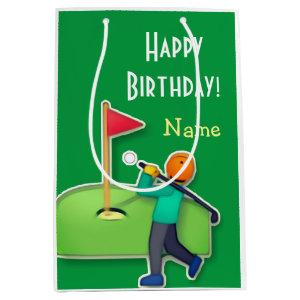 Emoji golf Happy Birthday green Medium Gift Bag