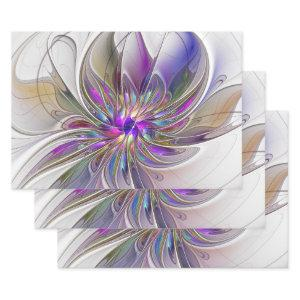 Energetic, Colorful Abstract Fractal Art Flower  Sheets