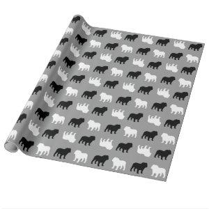 English Bulldog Silhouettes Pattern All Occasion Wrapping Paper