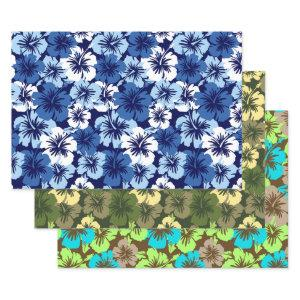 Epic Hibiscus Hawaiian Floral Trio- Blue & Olive Wrapping Paper Sheets