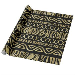 Ethnic and Animal Print Pattern Black and Gold Wrapping Paper