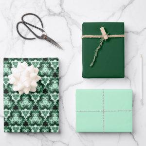 Evergreen Swirl w/Solids Wrapping Paper Sheets