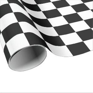 Extra Large Black and White Checks Wrapping Paper