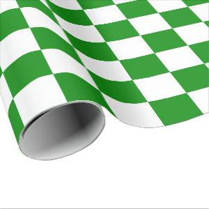 Extra Large Green and White Checks Wrapping Paper