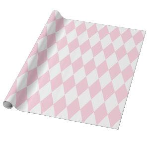 Extra Large Light Pink and White Harlequin Wrapping Paper