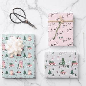 Fa La Home For The Holiday Town & Pink Retro Van Wrapping Paper Sheets