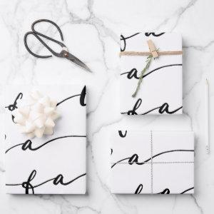 FA LA LA White & Black Calligraphy Christmas Carol Wrapping Paper Sheets