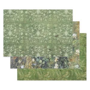 FADED GREEN BOHO HEAVY WEIGHT DECOUPAGE WRAPPING PAPER SHEETS