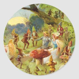Fairy Prince and Thumbelina in the Magic Forest Classic Round Sticker