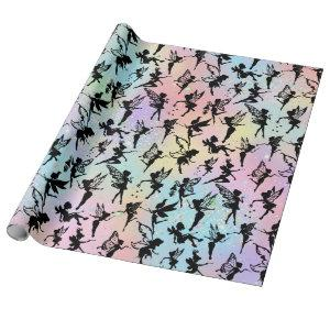 Fairy Silhouette Patterns Sparkly Rainbow Wrapping Paper
