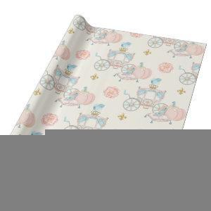 Fairytale Carriage Royal Fleur Gold Blush Ivory Wrapping Paper