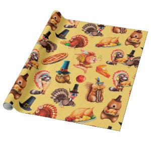 Fall Autumn Thanksgiving Turkey Animals Pie Wrapping Paper