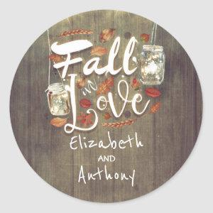 Fall in Love Rustic Wedding Mason Jar Lights Classic Round Sticker