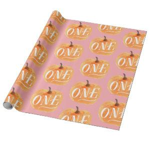 Fall Pumpkin Autumn First Birthday ONE  pink Wrapping Paper