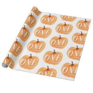 Fall Pumpkin Autumn First Birthday ONE Wrapping Paper
