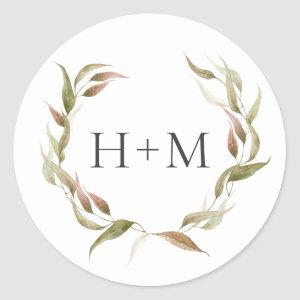 Fall Watercolor Laurel Wreath Monogram Wedding Classic Round Sticker