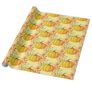 Fall Watercolor Little Pumpkins Yellow Wrapping Paper