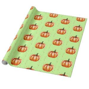 Fall Watercolor Pumpkins Green Wrapping Paper