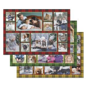 Family Photo Collage 36 Pictures | Buffalo Plaid Wrapping Paper Sheets