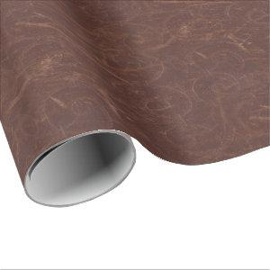 Fancy Brown Swirl Faux Leather Wrapping Paper