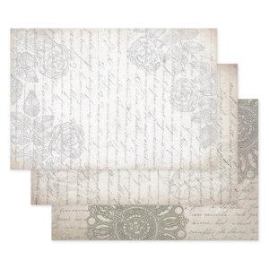 FANCY FRENCH SCRIPT HEAVY WEIGHT DECOUPAGE WRAPPING PAPER SHEETS