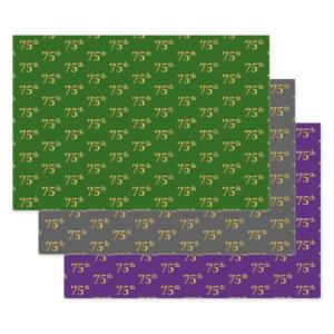 Fancy Green, Gray, Purple, Faux Gold 75th Event # Wrapping Paper Sheets