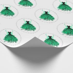 Fantasy Pixie Wings and Vivid Emerald Green Gown Wrapping Paper