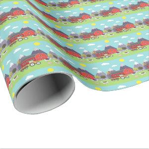 Farm, Red Barn, Cows, Birthday Wrapping Paper