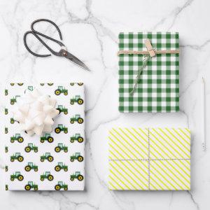 Farm Tractor Green and Yellow Kids Wrapping Paper Sheets