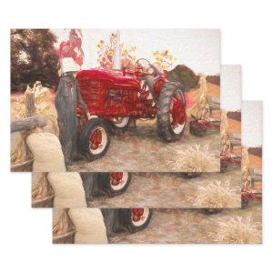 Farm Tractor Red Vintage Rustic Autumn Harvest  Sheets