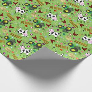 Farm Yard Cow Wrapping Paper