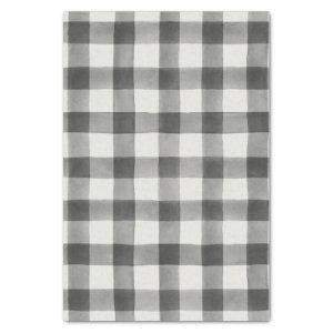 Farmhouse Black & White Buffalo Plaid Tissue Paper