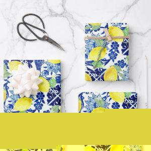 Farmhouse Rustic Country Lemons Blue Floral Wrapping Paper Sheets