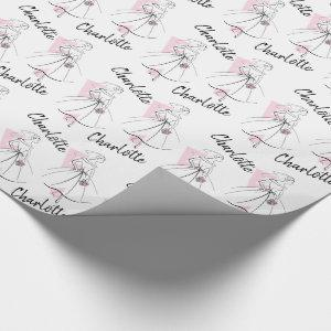 Fashion Bride Pink Name wrapping paper