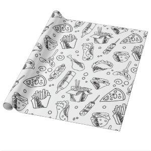 Fast Food Hamburger Fries Hot Dog Chicken Pattern Wrapping Paper