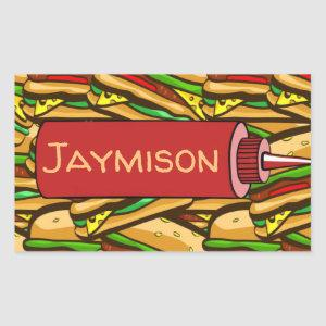 Fast Food Lover Cheese Burger | Personalized Text Rectangular Sticker
