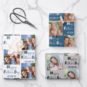 Fathers Day Custom Photo Blue Grey Set of 3 Wrapping Paper Sheets