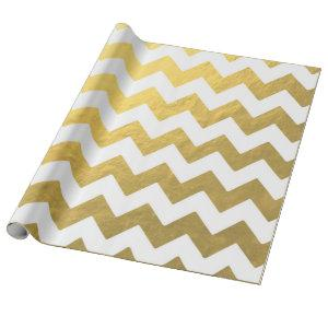 Faux Chevron Gold & White Wrapping Paper
