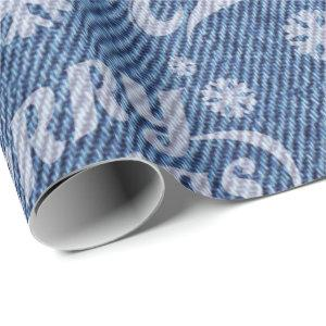 Faux denim word art Christmas wrapping paper