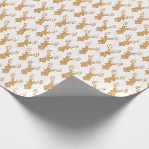 Faux Glitter Big Stag Antlers Wrapping Paper