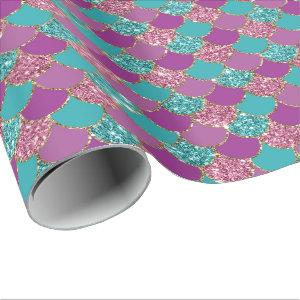 Faux glitter mermaid scales pattern party wrap wrapping paper