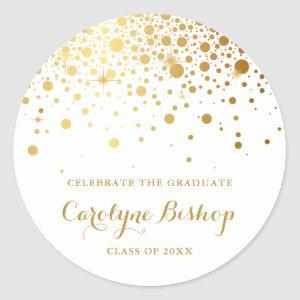 Faux Gold Confetti Personalized Graduation Sticker