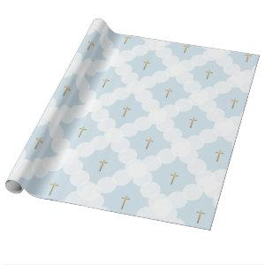 Faux gold cross white circle pattern baptism wrapping paper